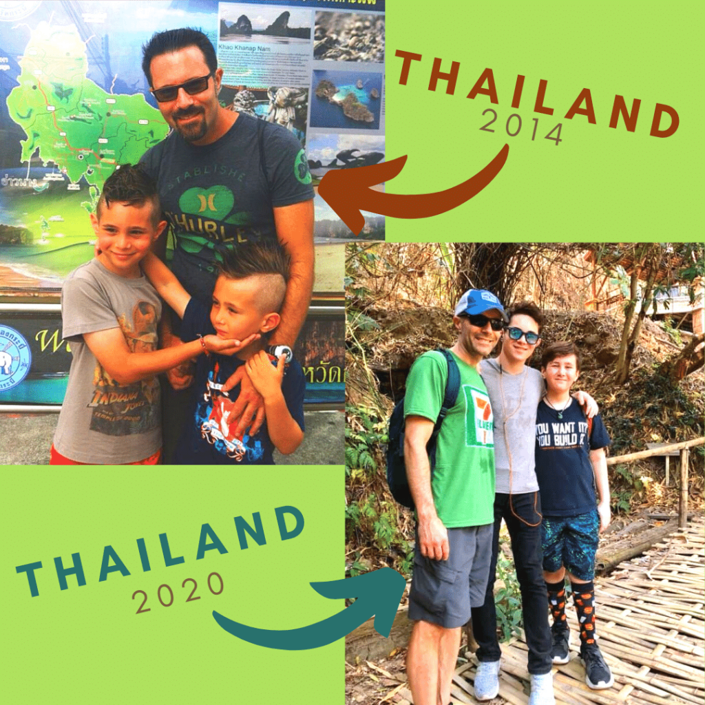 Walt family in Thailand now and then